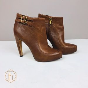 Sam Edelman Kit ankle booties 8 leather brown